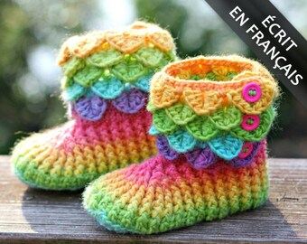 CROCHET PATTERN: Bottines Enfant Au Point Crocodile - Permission to Sell Finished Product