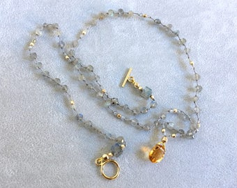 Hand Knoted gemstone III - AAAA Golden Citrine, Blue Flash Labradorite, Gold Filled Beads - Ready to Ship