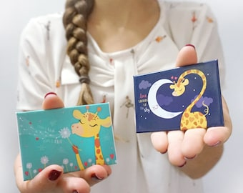 "Set of fridge magnets ""make a wish, make it real"" + ""Love lights up the Sky""-Giselle #GiraffeMonday"