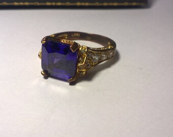 14 K Gold Plated Amethyst and Cubic Zirconia Ring Size 8