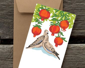 BFHOL131: Doves and Pomegranates- 8 Blank flat cards and envelopes