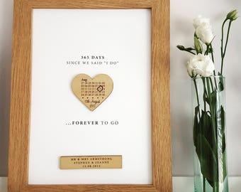 First Paper Anniversary Calendar Heart Print