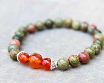Carnelian Bracelet, Unakite Bracelet, Green Bracelet, Reiki Jewelry, Crystal Healing, Chakra Bracelet, Wrist Mala, Prayer Beads, Heart