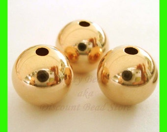 10mm 14k yellow  gold filled seamless shiny plain round bead spacers GB10