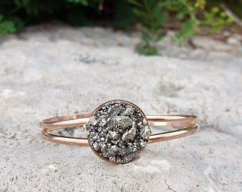 Rose Gold Cuff Bracelet Rose Gold Bridesmaid Jewelry Pyrite Bracelet Boho Bridal Bracelet Statement Jewelry Mineral Jewelry Crushed Pyrite