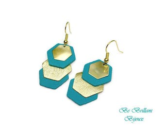 Gold hexagons leather earrings, emerald green