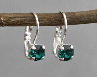Green Crystal Earrings, Green Leverback Earring, Green Drop Earrings, Dark Green Earrings, Emerald Green Earrings, Green Bridesmaid Earrings
