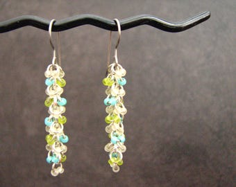 Colorful Beaded Earrings, Lime Green And Aqua, Beaded Jewelry, Unique Earrings, Tonic And Lime Designs