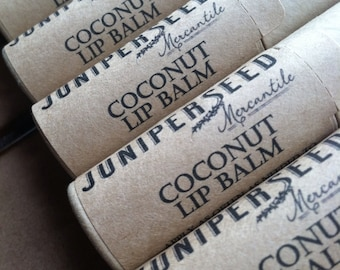 Coconut Lip Balm - 0.33 ounce Compostable Plastic Free Cardboard Packaging - Sweetened With Stevia