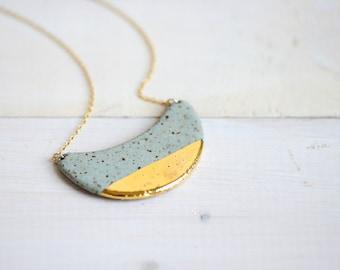 22k Gold Dipped Wave - Stone, Stoneware, Ceramic jewelry, minimalist jewelry, gold jewelry