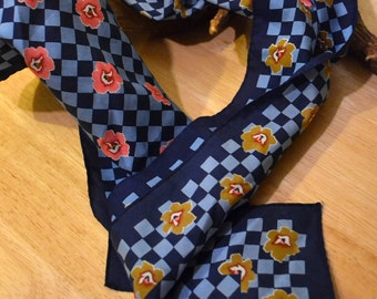 Vintage Scarf Blue with Pink and Brown Flowers