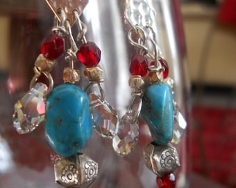 Western Glam earrings - turquoise, red glass, Hill Tribe silver