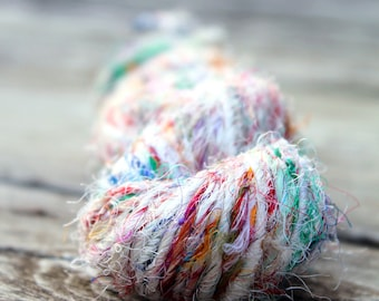 Recycled Sari Silk Yarn Hank - White and multicolor