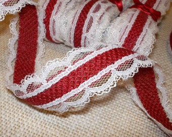 LAST CHANCE!! Red and Ivory Burlap Lace Ribbon - 1 inch x 3 yards