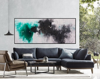 Abstract painting Large abstract art Green black painting Large original painting on canvas Abstract art Extra large Canvas art Horizontal