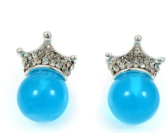 Sea Blue Crown Shaped Rhodium Plated Small Stud Earrings