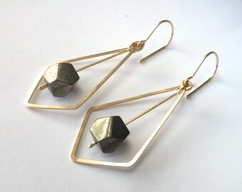 PENDULUM EARRINGS - Gold Geometric Earrings with Pyrite Stones - Angular Gold Earrings with Faceted Stones