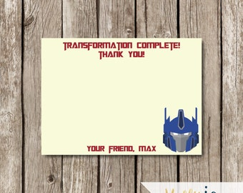 Optimus Prime Transformers Thank You Card - Transformers Birthday Party - Transformers Thank You Card - Optimus Prime Thank You Card