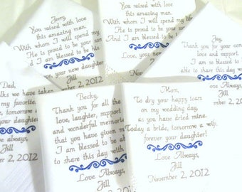 Embroidered Wedding Hankerchiefs, Family, Set of 6, Parents, MOM, DAD, INLAWS, by Canyon Embroidery