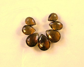Cognac quartz faceted pear beads AA+ 13-18mm 7pcs