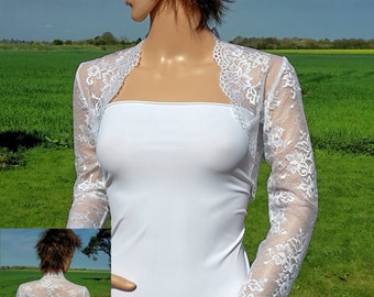 Womens White Lace Bridal Bolero/ Jacket/ Shrug with 3/4 sleeves sizes UK  8 to 18