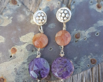 Charoite and sunstone earrings