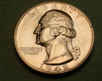 1942  Washington Quarter Gem BU <> Insurance Included in SH , Coin you see is the Coin you get <> # ET6017