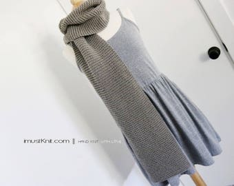 hand knit scarf || knitted chunky scarf || knit winter scarf | long garter scarf || handknit gift for unisex -lead color 8 x 74''