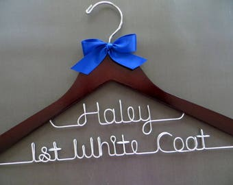 2 Line First White Coat Hanger with Name, 1st White Coat Ceremony, Doctor Hanger, Medical School Graduation Gift, Personalized Doctor Gift