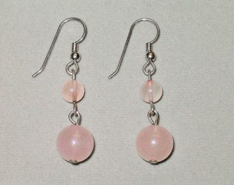 Sterling Silver/Genuine Rose Quartz Large Double-Ball Dangle Earrings