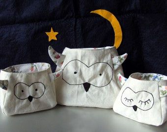 Owl Fabric storage bags: Owl Family Bags, storage containers with printed cotton lining and ear feathers, freemotion sewn features, purse