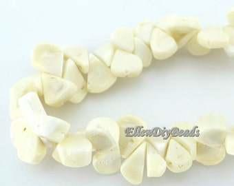 Natural Coral ,One Full Strand,Teardrop coral beads,Coral Beads,White Coral Beads,White Stone,Gemstone Beads---10*18mm---15 inches--BC024