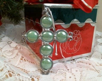 GREEN CROSS glob glass nuggets suncatcher or ornament
