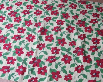 Two Thirds of a Yard of Vintage Yellow and Red Floral Feedsack Fabric