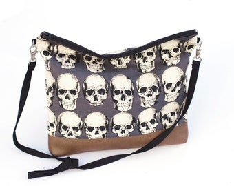 Rad Skull slouchy bag with faux leather - punk rock - out of print fabric