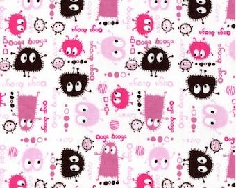 PINK n BROWN Ooga Booga, Cotton Interlock Knit Fabric, by the Yard