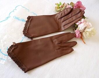 1950s Van Raalte Gloves in Brown Nylon, 7 1/2, New in Package