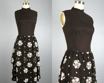 Vintage 1950s 1960s Chiffon Dress by LANZ 50s 60s Sheer Chocolate Brown Embroidered Party Dress with Tiered Skirt Size 6/M