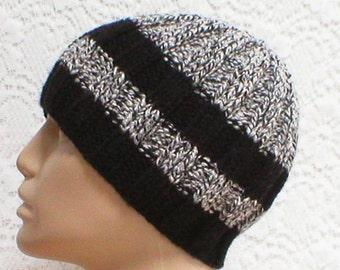 Black gray white tweed beanie hat, toque, mens womens knit hat, striped hat, black gray white hat, beanie hat, chemo cap, biker hiking hat