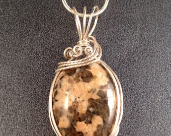 """Brown Serpentine Gemstone Pendant Wrapped in Sterling Silver 1.75"""" Long on Optional Vintage Sterling Silver Chain 25"""" Long One of a Kind"""