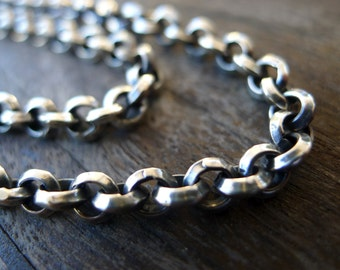 Bench Made Chain Chunky Vintage Inspired Rolo Style 5mm Sterling Silver Chain, Handmade Chain, Handmade Mens Chain,Hand forged, Hand Wrought
