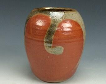Shino Orange Tan and Grey Small Ceramic Vase, Modern Home Decor, Unique Rustic Vessel, Tiny Clay Bud Vase, Miniature Flower Vase