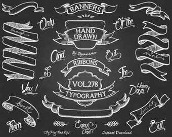 """Chalkboard Clip Art Clipart - """"Chalkboard Banners"""" with hand drawn clipart, banners clipart, ribbons, typography in chalk style"""