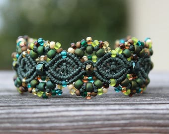 Micro-Macrame Cuff Bracelet. Modern Macrame. Beaded Cuff. Green Cuff Bracelet. Macrame Cuff. Statement Jewelry. Boutique Fashion Piece.
