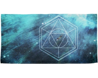 Surfing Sacred Cosmic Waves All Over Beach Towel