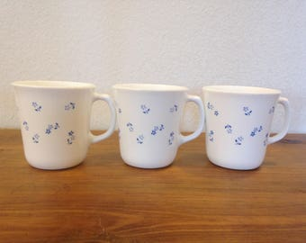 Set of 3 Corning Mugs Provincial Blue