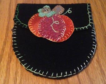 Handmade Wool Pumpkin Sewing Pouch - Free Shipping