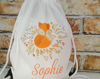 Personalised Cute Fox Drawstring backpack bag, swimming bag, water-resistant, child's bag, kid's bag, school bag