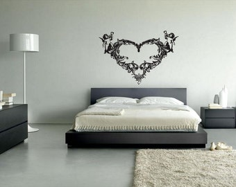 rvz071 Wall Vinyl Sticker Decals Angels Heart Tribal Flowers Love Decal