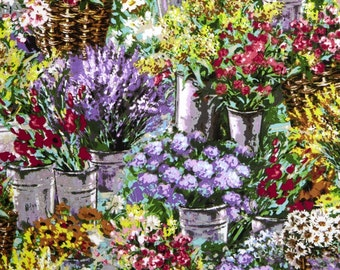"Floral Fabric,Garden Fabric: Flower Market Garden Scenic-Floral Painting by Timeless Treasures 100% cotton Fabric by the yard 36""x43"" (TT13)"